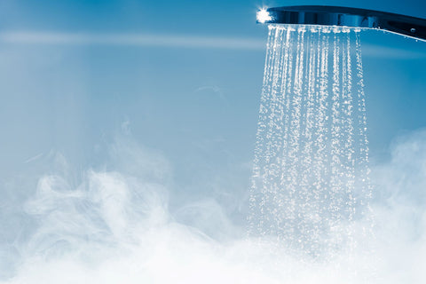 Take hot shower to avoid being hot during sleep, shower head with hot steamy water