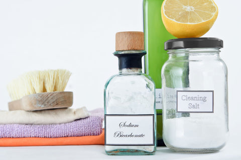 Natural products for spot cleaning of mattress and mattress toppers, display of various natural products for cleaning