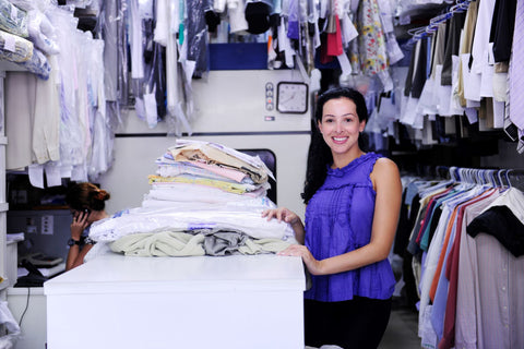 Use a dry cleaning service for having comforter washed, owner of dry cleaning service in her business