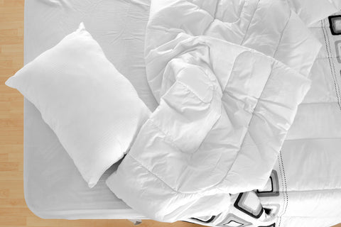 Goose alternative for comforter and pillow; comforter and pillow on bed