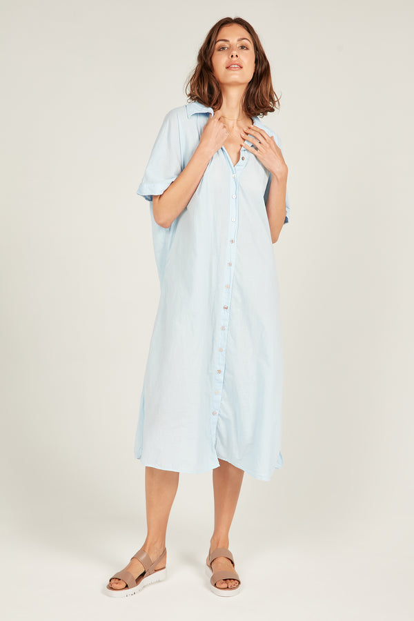 DEVOILE SHIRT DRESS - SOFTLY BLUE