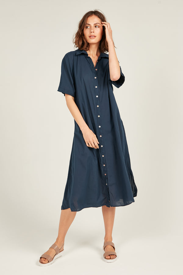 DEVOILE SHIRT DRESS - DARK NAVY