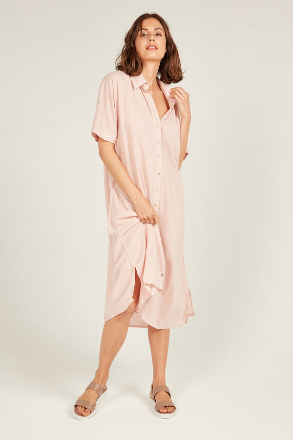 DEVOILE SHIRT DRESS - WILDER PINK