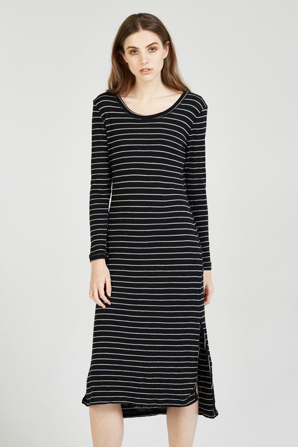 CAND DRESS - CHARCOAL STRIPE (FINAL SALE)