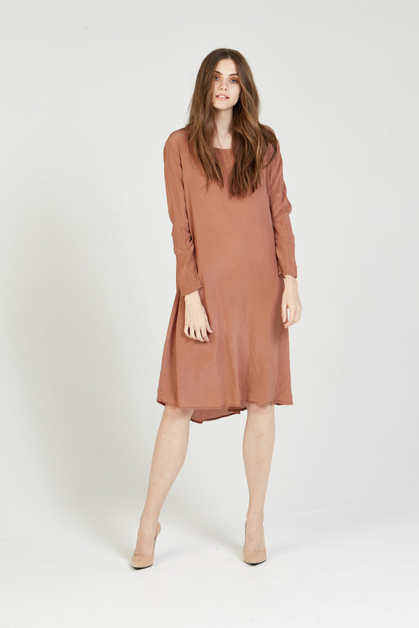 GIGI L/S DRESS - FUDGE BROWN - SIZE 1 LEFT