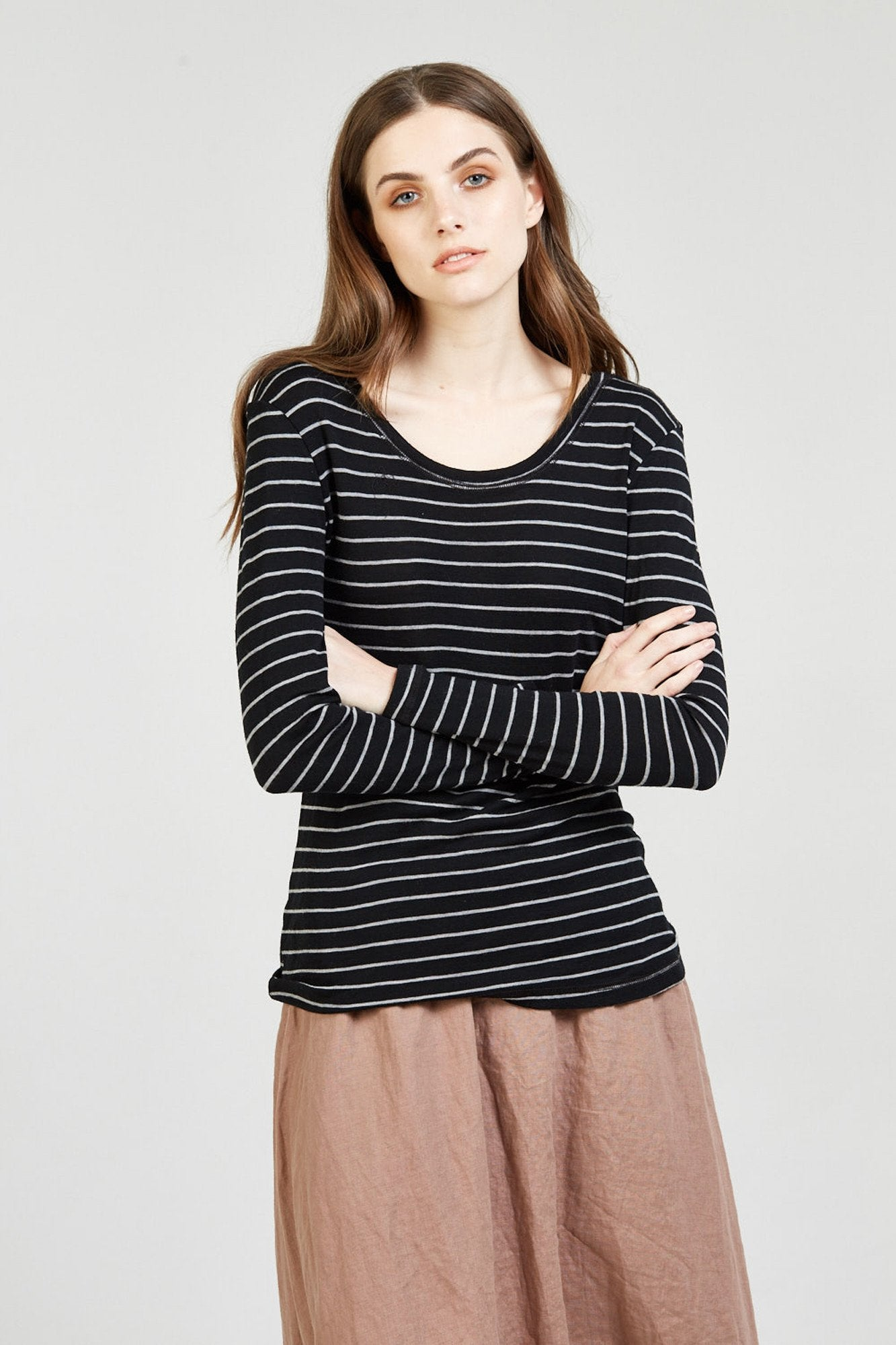 CAND CREW NECK - CHARCOAL STRIPE