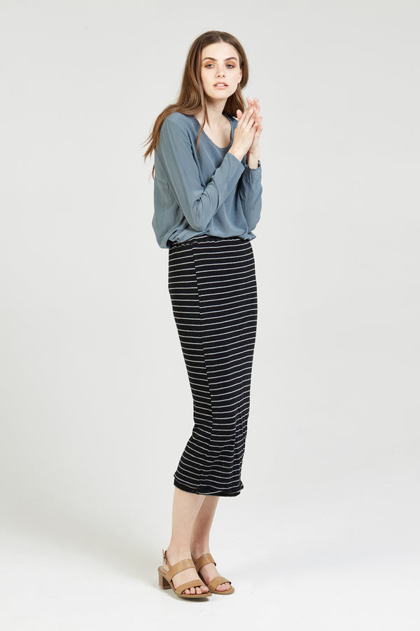 CAND TUBE SKIRT - CHARCOAL STRIPE (FINAL SALE)