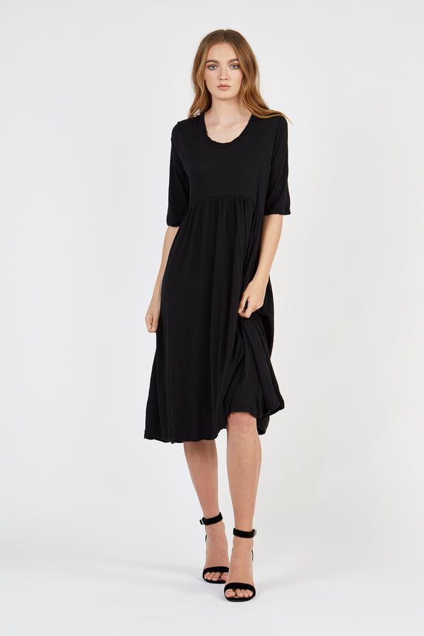 GATHERY DRESS - NOIR