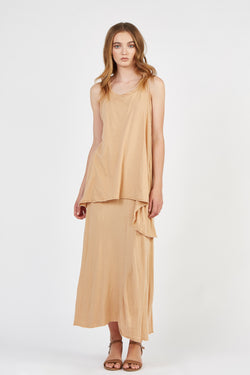 WHISPER LONG DRESS - CARAMEL