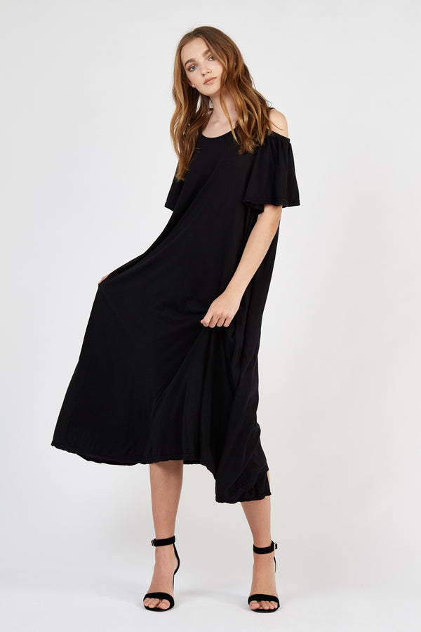 FRILLED DRESS - NOIR (FINAL SALE)