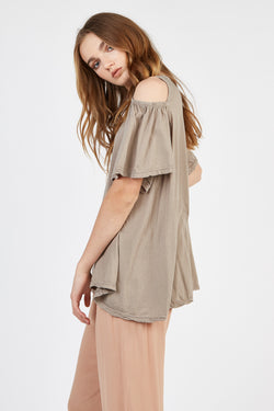 FRILLED TEE - PEBBLE