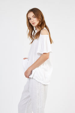 FRILLED TEE - BLANC (FINAL SALE)