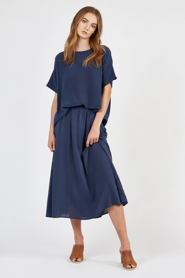 PIA FULL SKIRT - WASHED NAVY