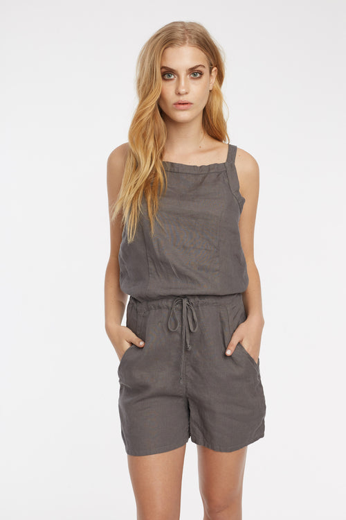 LIN PLAYSUIT - WOODEN