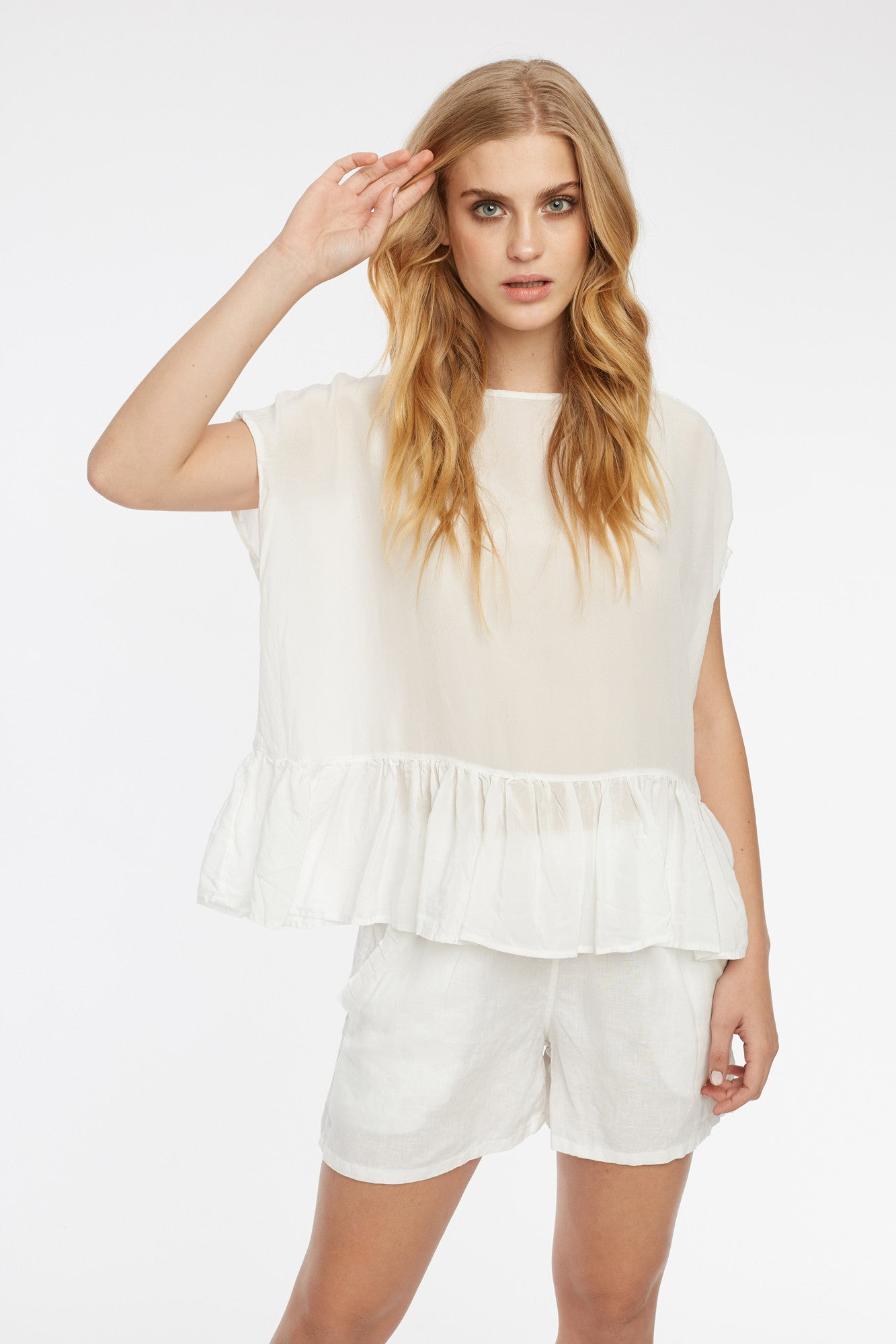 FEATHER TOP - BLANC