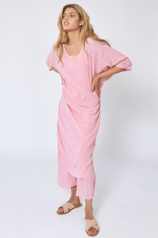 GOOD VIBES DRESS - BLUSH PINK
