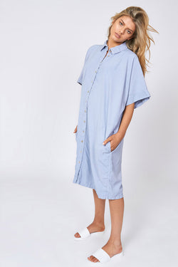 WISHY SHIRT DRESS - POWDER BLUE