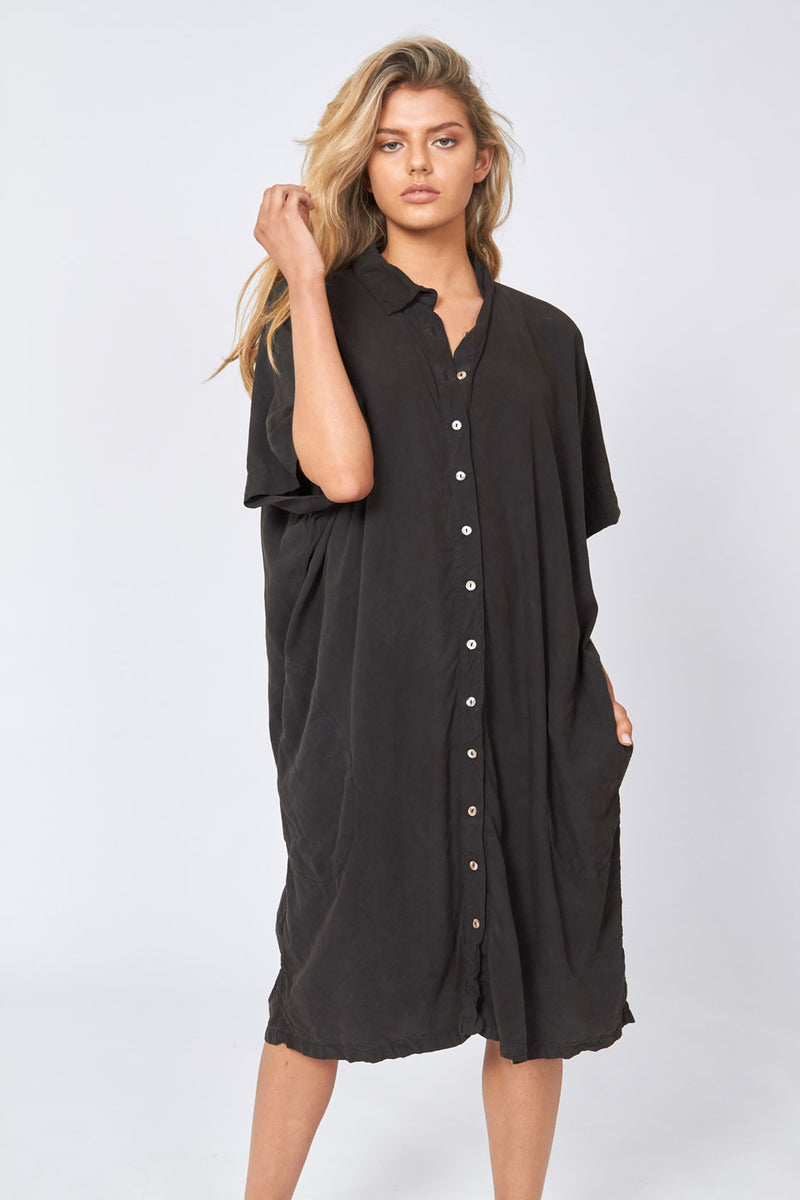 WISHY SHIRT DRESS - NOIR