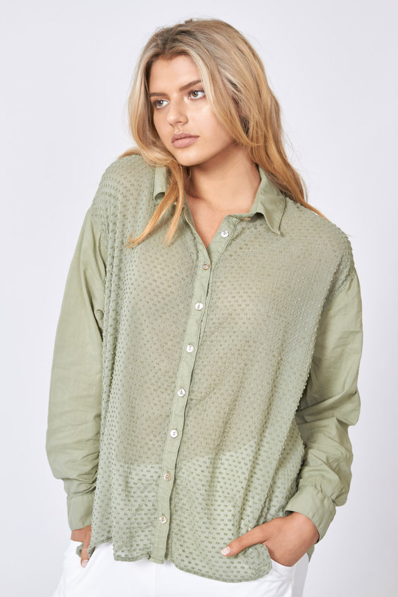 BOHO SHIRT - PALM GREEN