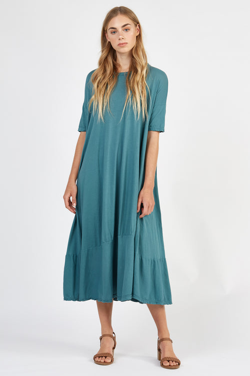 POP MIDI DRESS - SEA GREEN