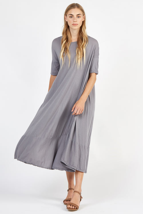 POP MIDI DRESS - FOSSIL GREY