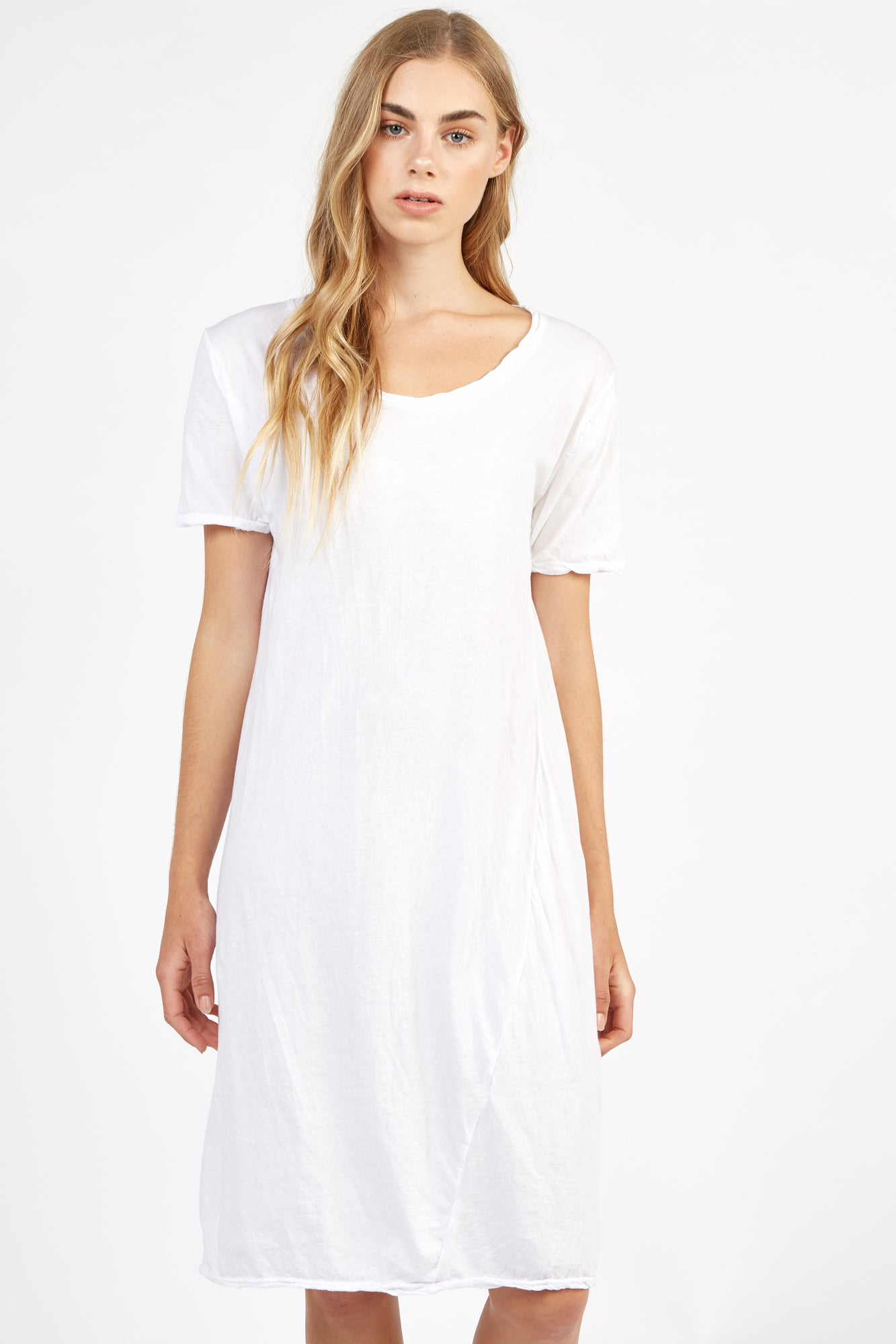 SCOOPED TEE DRESS - BLANC