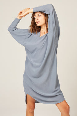 BATWING DRESS - EGGSHELL BLUE