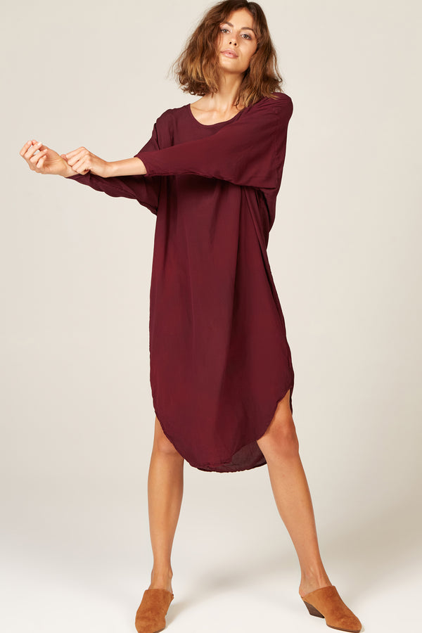 BATWING DRESS - BERRY (PRE-ORDER)