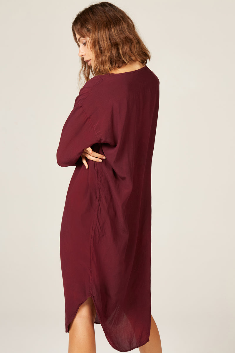 BATWING DRESS - BERRY