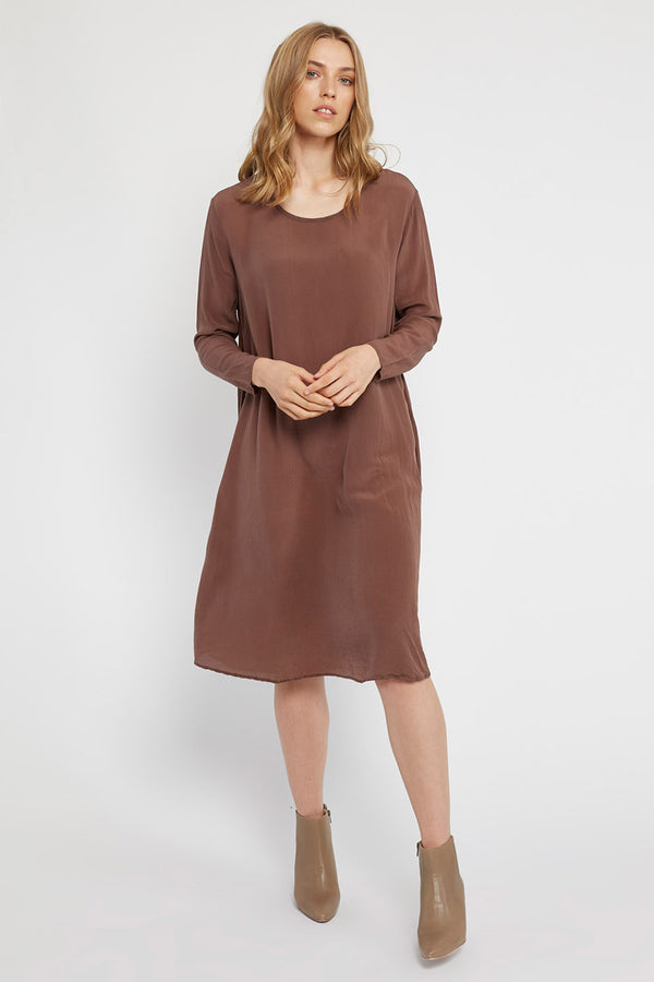 GIGI L/S DRESS - CHOCOLATE