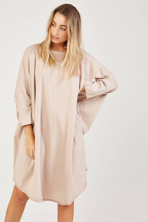 BOX L/S DRESS - CARAMELO