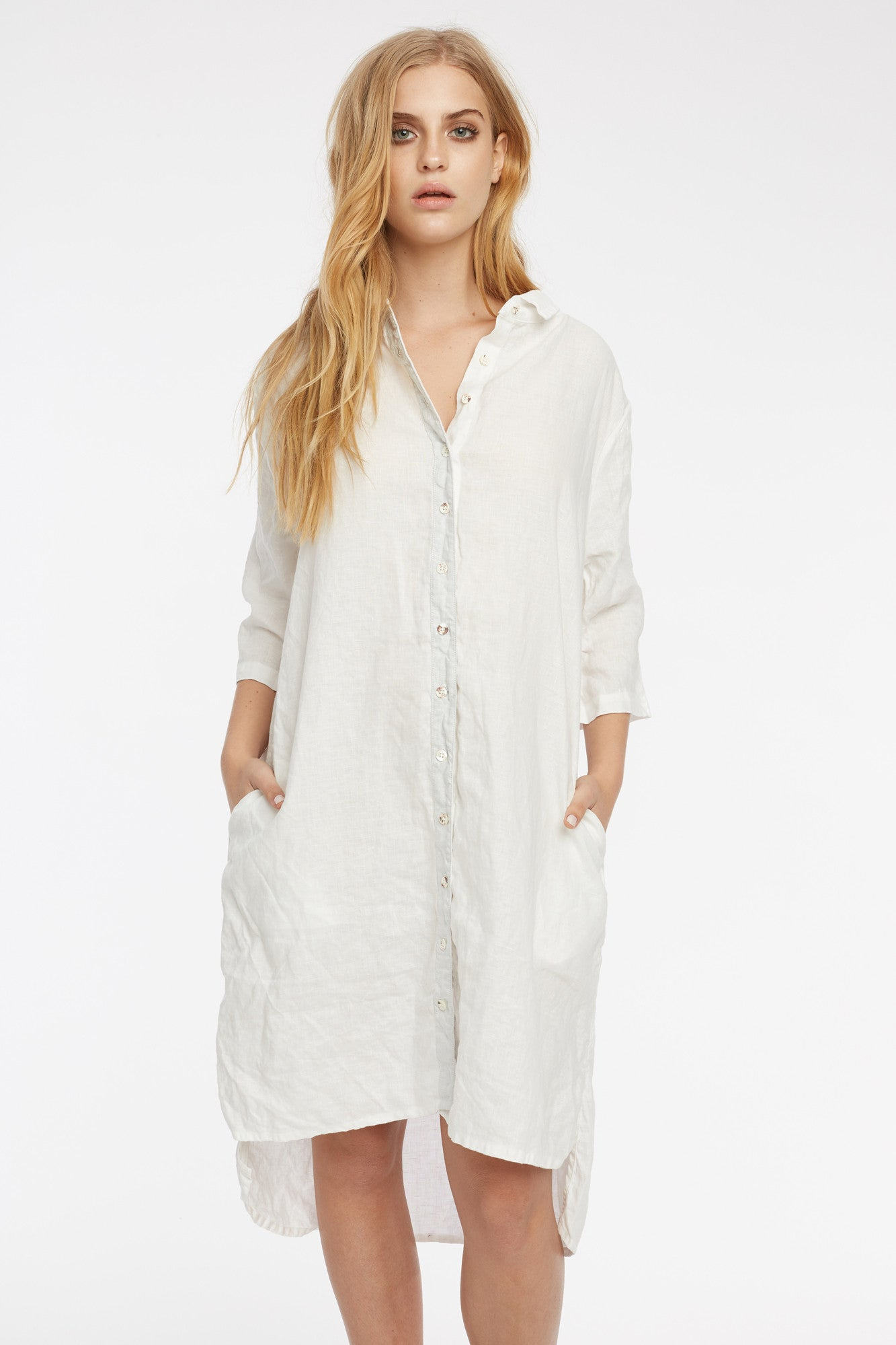 LIN SHIRT DRESS - BLANC