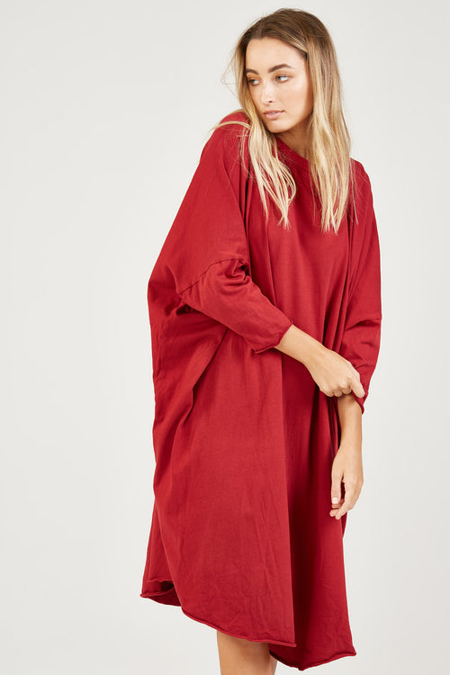 BOX L/S DRESS - LIPSTICK