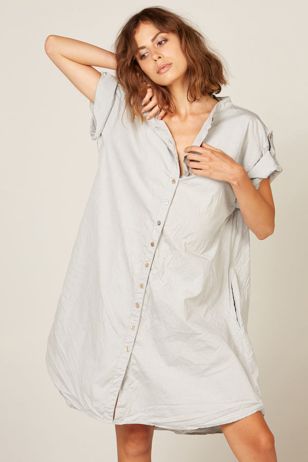 BONNY SHIRT DRESS - GREY MARLE - SIZE 3 LEFT