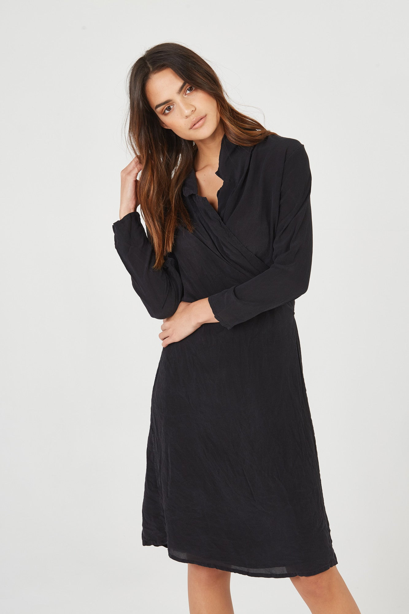 BOMAN WRAP DRESS - NOIR