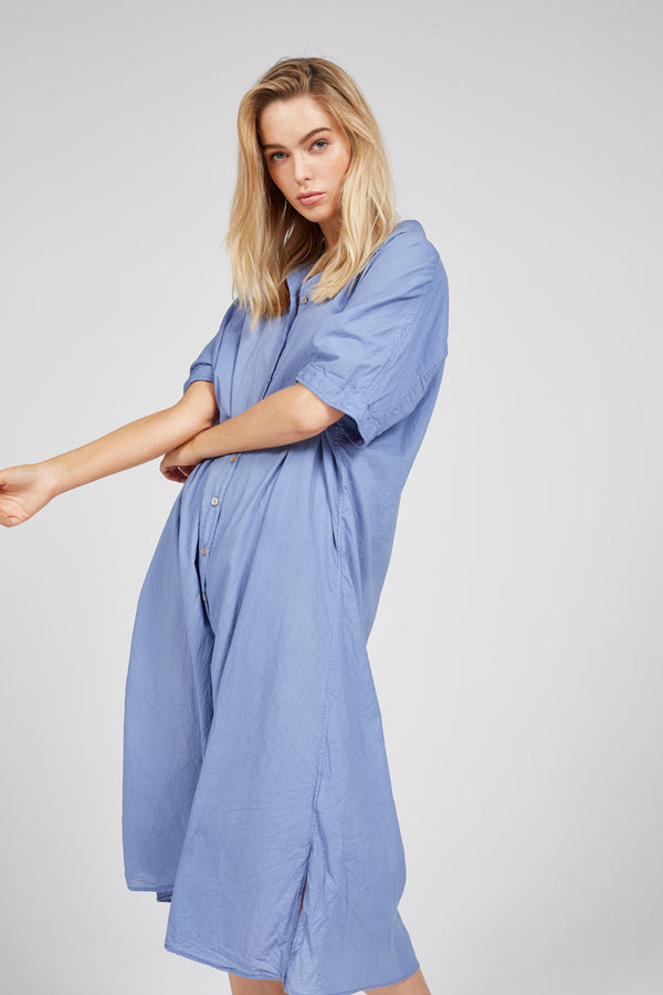 DEVOILE SHIRT DRESS - OCEAN BLUE