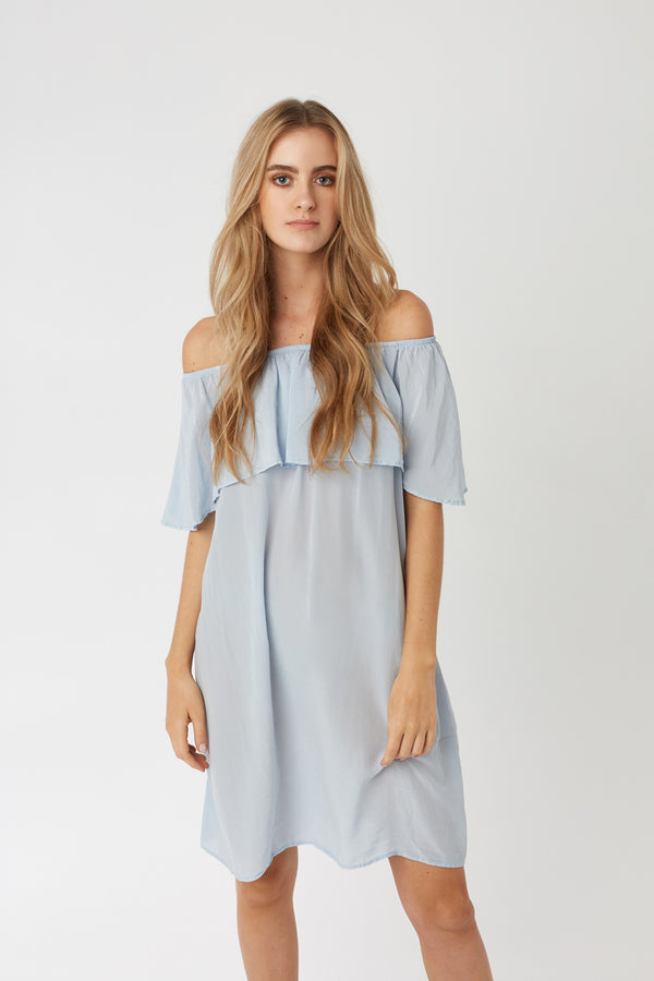 CRUZ SILK DRESS - SEA SPRAY (FINAL SALE)