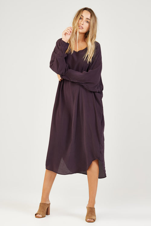 BATWING DRESS - AUBERGINE