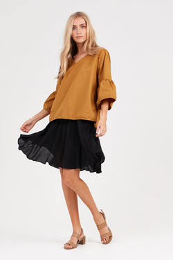 FLUTED ASYMMETRIC SKIRT - NOIR
