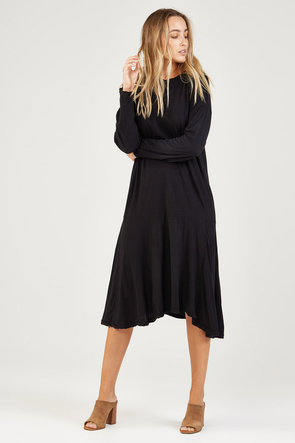DROPPED WAIST DRESS - NOIR