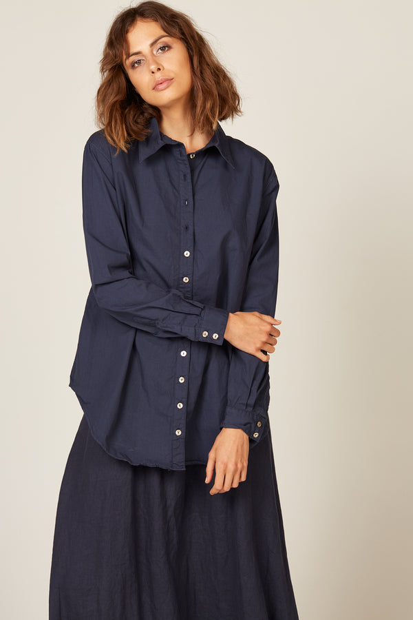 COCOON SHIRT - NAVY