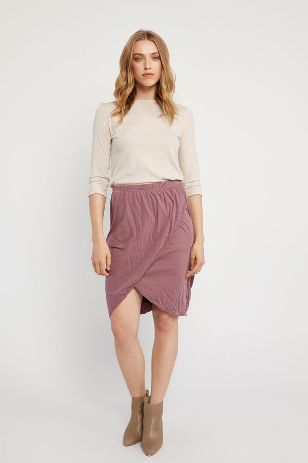 REEDS WRAP SKIRT - PLUM - SIZE 3 LEFT
