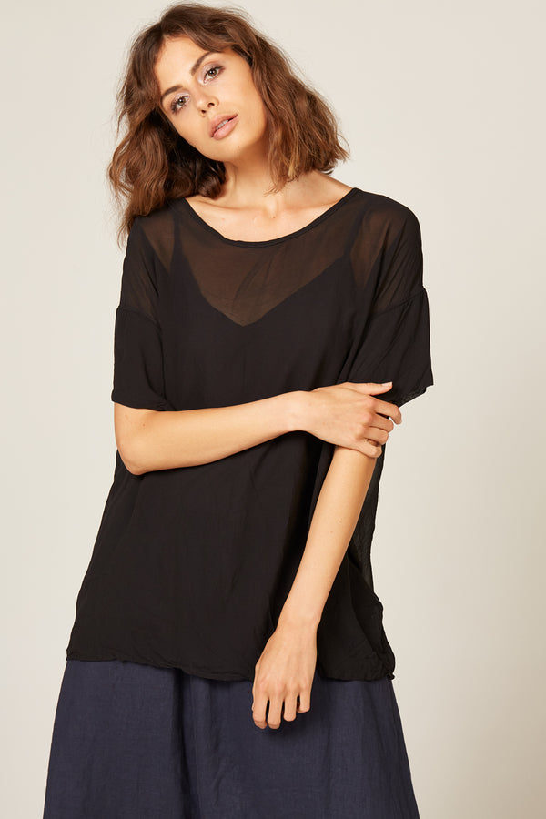 SHEER TEE - NOIR - SIZE 1 LEFT