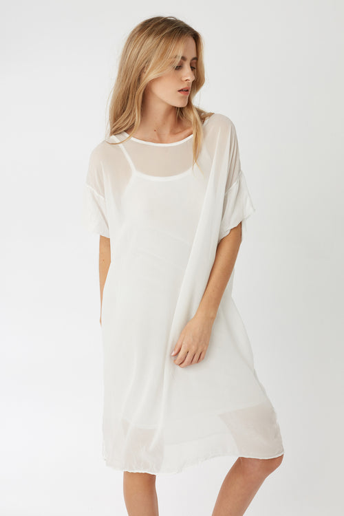 REGI SHEER DRESS - BLANC - SIZE 1 LEFT