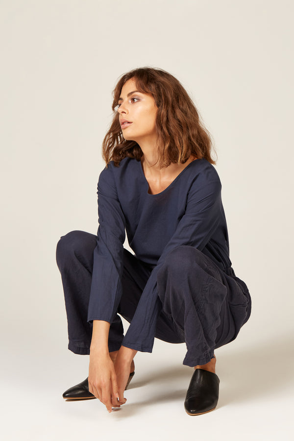 LIN LOOSE PANT - NAVY - SIZE 3 LEFT