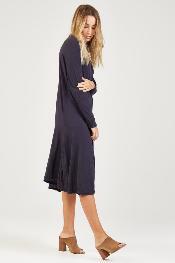 DROPPED WAIST DRESS - BLUEY CHARCOAL