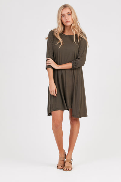EASY L/S LOOSE DRESS - OLIVE - PRE ORDER