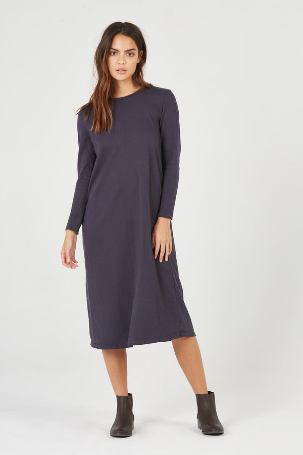 BOX STRAIGHT DRESS - SMOKED CHARCOAL