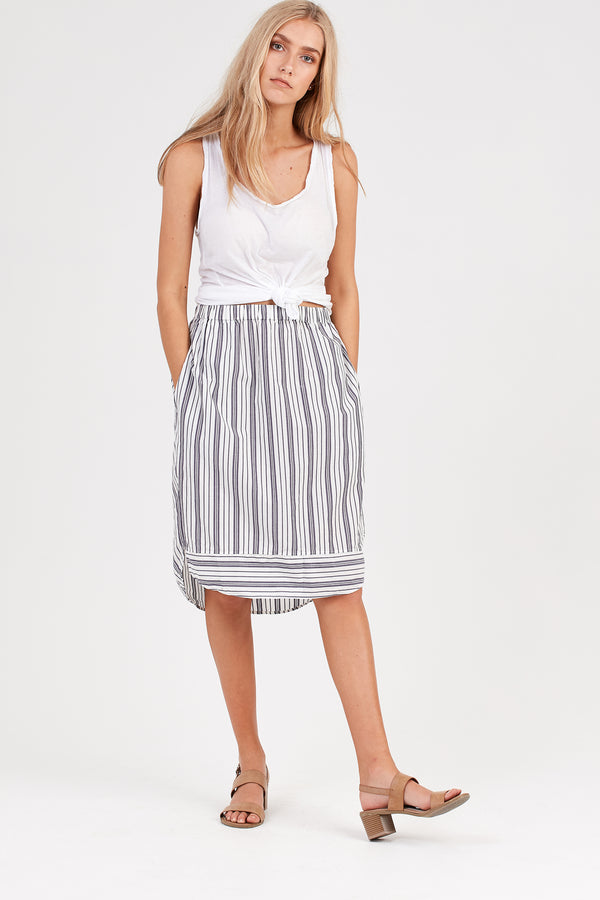 LOLA SKIRT - CHALK STRIPE - SIZE 1 LEFT