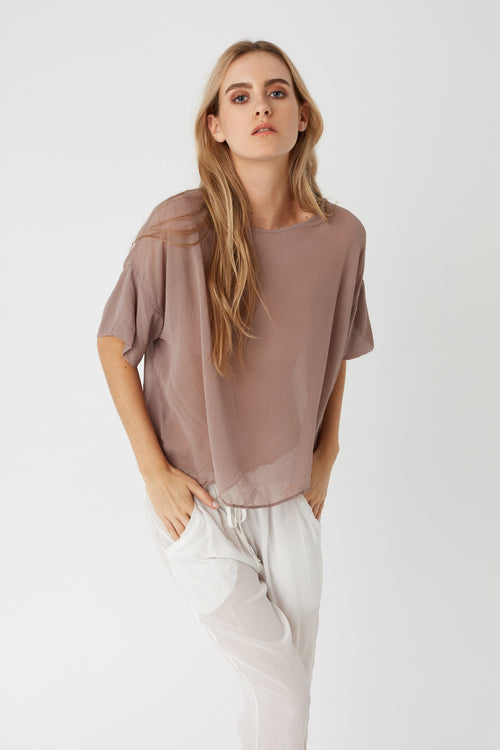 REGI SHEER TOP - DRIFTWOOD